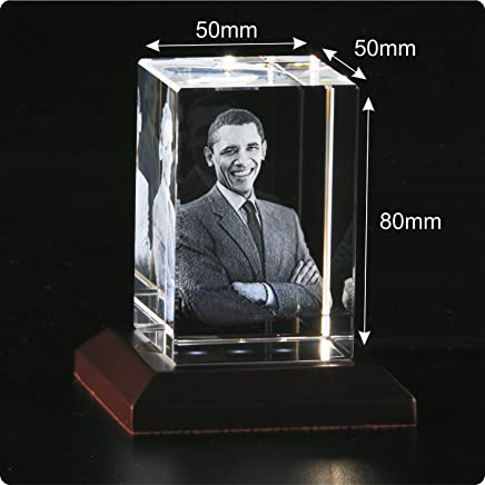 Presto Personalised 3D Crystal Gift Birthday Gift Valentines's Day Gift with Free LED Light Base