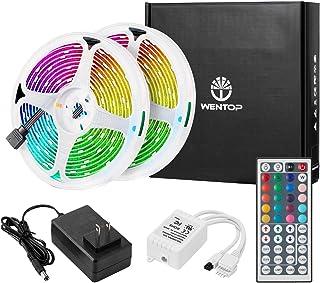WenTop LEDテープライトスーツ SMD 5050 両面テープ 10m 300連 テープled 非防水 RGB 30leds/m 44Kコントローラーと 12v電源 高輝度 切断可能 ledテープ 明るいライト (2x5M)