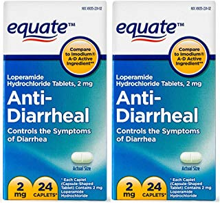 Equate Anti-Diarrheal, Loperamide Hydrochloride (HCl) 24 Caplets 2 Pack-Total of 48 Caplets