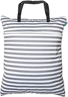 Teamoy Travel Hanging Wet Dry Bag Organizer (24.7 x 18 inches) with Two Compartments for Cloth Diaper, Laundry, Swimsuits and More, Easy to Hang Everywhere (L, Gray Strips)