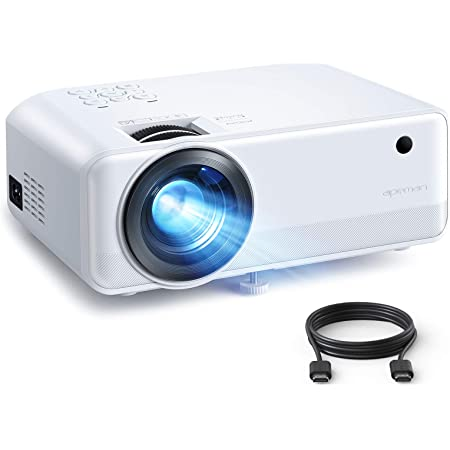 Mini Projector, APEMAN 6000 Lumen 1080P Supported Projector, 200'' Display 50000 Hrs LED Life, Dual Speakers Portable Projector, Compatible with HDMI, USB, VGA, TF, PS4, Laptop, DVD for Home Cinema