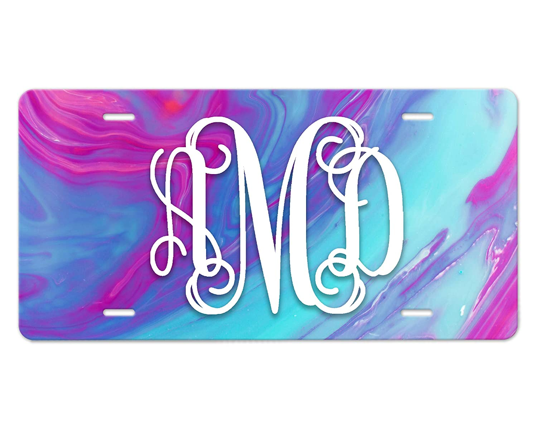 Custom Lettering Monogram Front License Swirl half Direct sale of manufacturer Plate Blue Pink