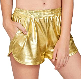 Womens Yoga Hot Shorts Metallic Pants with Elastic Waists