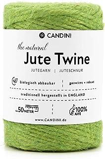 Candini Jutegarn - grün   50m   ø 2-3mm reine Jute, Bastelschnur - Premium Qualität aus England - Jute Schnur, Paketschnur, Jutekordel, Bindfaden