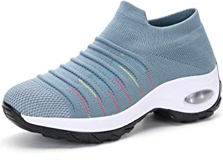 Women's Comfortable Walking Shoes Slip on Air Cushion Sock Sneakers Lightweight Breathable Platform Loafers