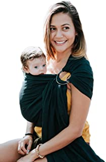 Luxury Ring Sling Baby Carrier – Extra Soft Bamboo & Linen Fabric, Full Support and Comfort for Newborns, Infants & Toddlers - Best Baby Shower Gift - Great for Men Too (Midnight Black)