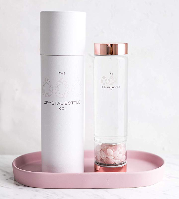 Crystal Elixir Glass Water Bottle Gemstone Wellness Dispenser With Rose Quartz Crystal Included To Infuse Water For Healing With Rose Gold Lids A Great Gift Idea For Women And Bridesmaids BPA Free