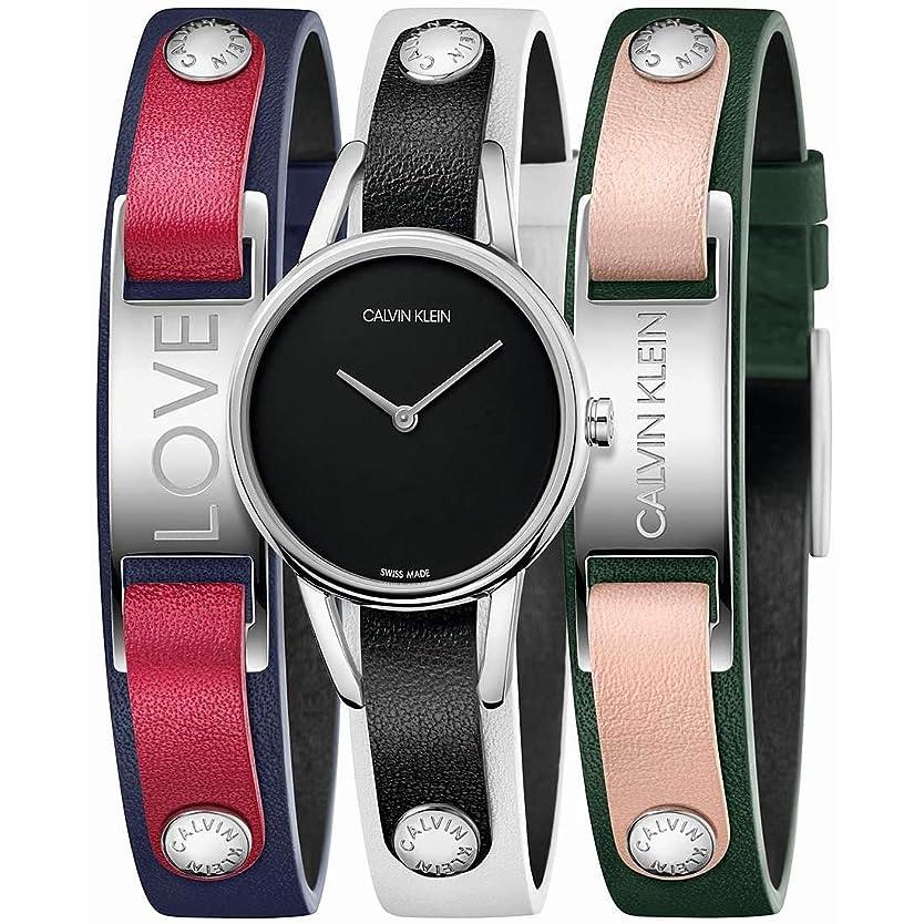 求人ドライ護衛[カルバンクライン]CALVIN KLEIN 腕時計 #MYCALVINS(#マイカルバンズ) 2針 シルバー×ブラック K9D231LY レディース 【正規輸入品】