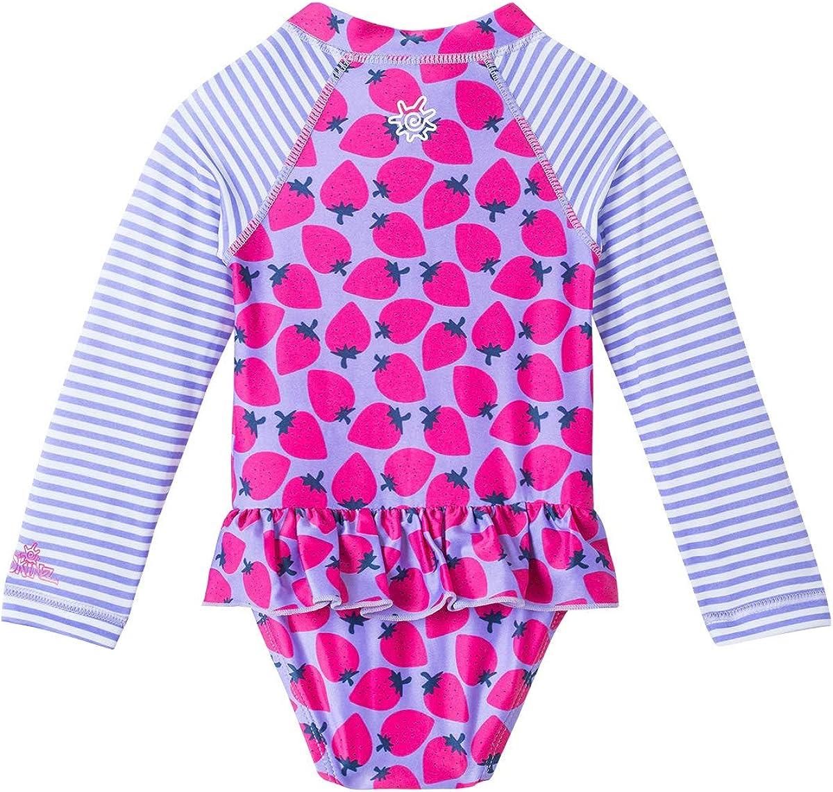 Baby Girls LS Ruffled Swim Suit UV SKINZ UPF 50
