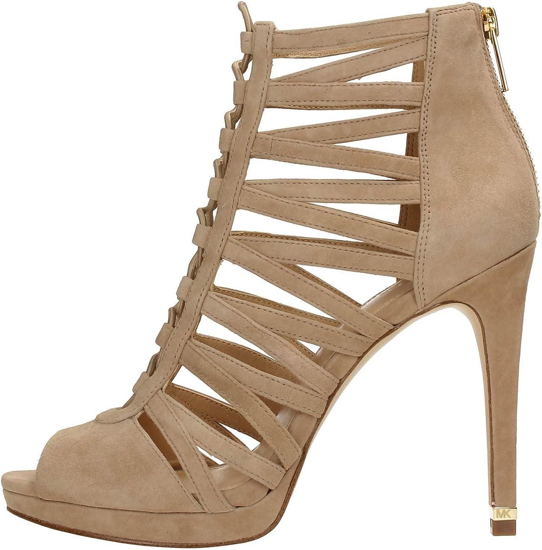 Michael Kors Womens Outlet SALE Clarissa Peep Special Khak Toe OFFicial store Dark