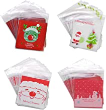 4 Pack 50Pcs 4in Christmas Tree Santa Claus Christmas Candy Bag Self-adhesive Plastic Bags For New Year Christams Cookie P...