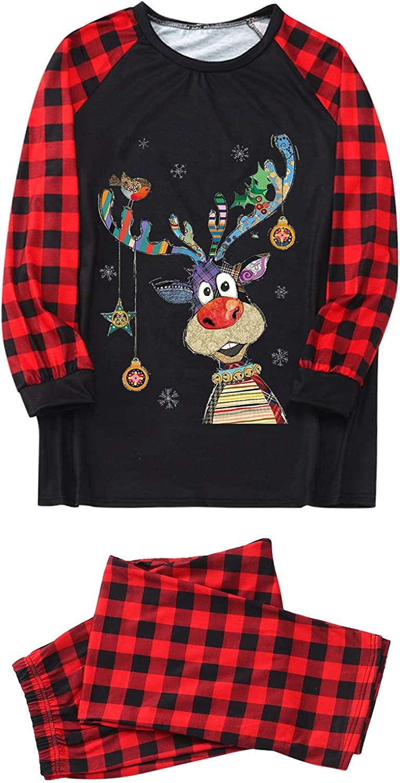 Goldweather Christmas Family Matching Pajamas Sets Plaid Print Long Sleeve Tops + Pants Holiday Xmas Pjs Sleepwear Outfits