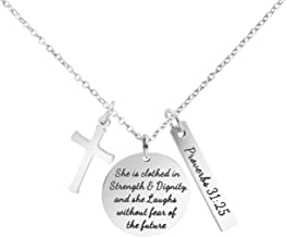 MEMGIFT Bible Verse Cross Pendant Christian Necklace Prayer Charm Faith Religious Jewelry for Women
