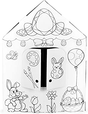 Easy Playhouse Spring Cottage - Kids Art & Craft for Indoor Fun, Color, Draw, Doodle on a Festive Easter House - Decorate & P