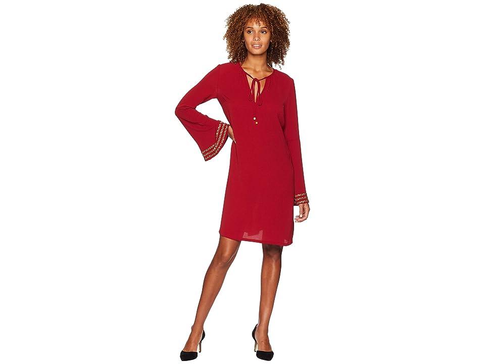 MICHAEL Michael Kors Bell Sleeve Heat Transfer Dress (Maroon) Women