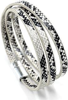 Alloy PU Leather Imitation Snakeskin Adjustable Long Faith Bracelet Unisex