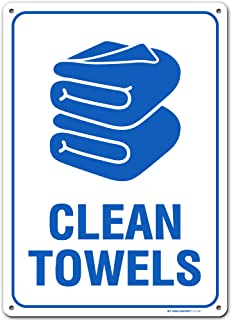 """Clean Towel Pool Sign, Made Out of .040 Rust-Free Aluminum, Indoor/Outdoor Use, UV Protected and Fade-Resistant, 10"""" x 1..."""