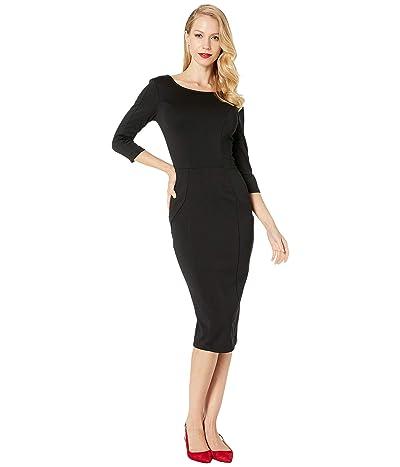 Unique Vintage Sleeved Knit Mod Wiggle Dress (Black) Women