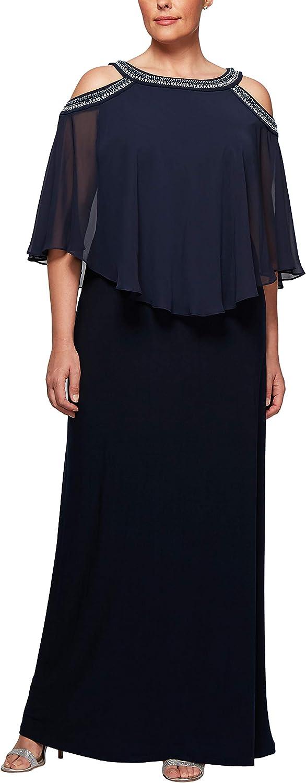 Alex Evenings Plus Size Women's Cold Shoulder Popover Dress