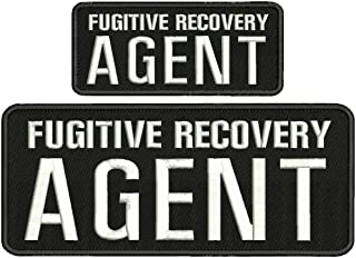 Fugitive Recovery Agent 4x10 and 2.5x6 White Letters with Hook on Back