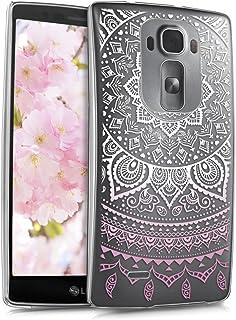 kwmobile Funda Compatible con LG G Flex 2 - Carcasa para móvil - Protector Trasero Sol hindú Rosa Claro/Blanco/Transparente