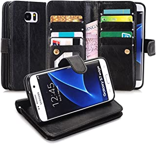 Galaxy S7 Edge Case, Asstar [Card/Cash Slots]Built-in 9 Slots Heavy Duty Protective Shock Resistant Luxury PU Leather Case Flip Cover case for Samsung Galaxy S7 Edge (BLACK)