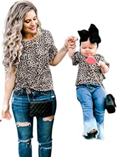 Mommy and Me Clothes Leopard Print Short Bell Sleeve Blouse Top Family Matching Round Neck Casual T-Shirt Top