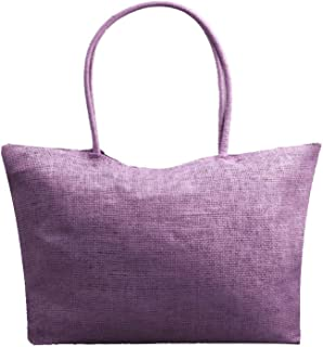 Fashion Simple Candy Color Large Straw Beach Bags Women Casual Shoulder Bag