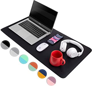 Black/Gray Dual Sided PU Leather Desk Pad, Upgrade Sewing Office Laptop Mat, Waterproof..