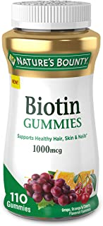 Biotin by Nature's Bounty, Vitamin Supplement, Supports Healthy Hair, Skin, and Nails, Fruit Flavored Gummies, 1000 mcg, 1...