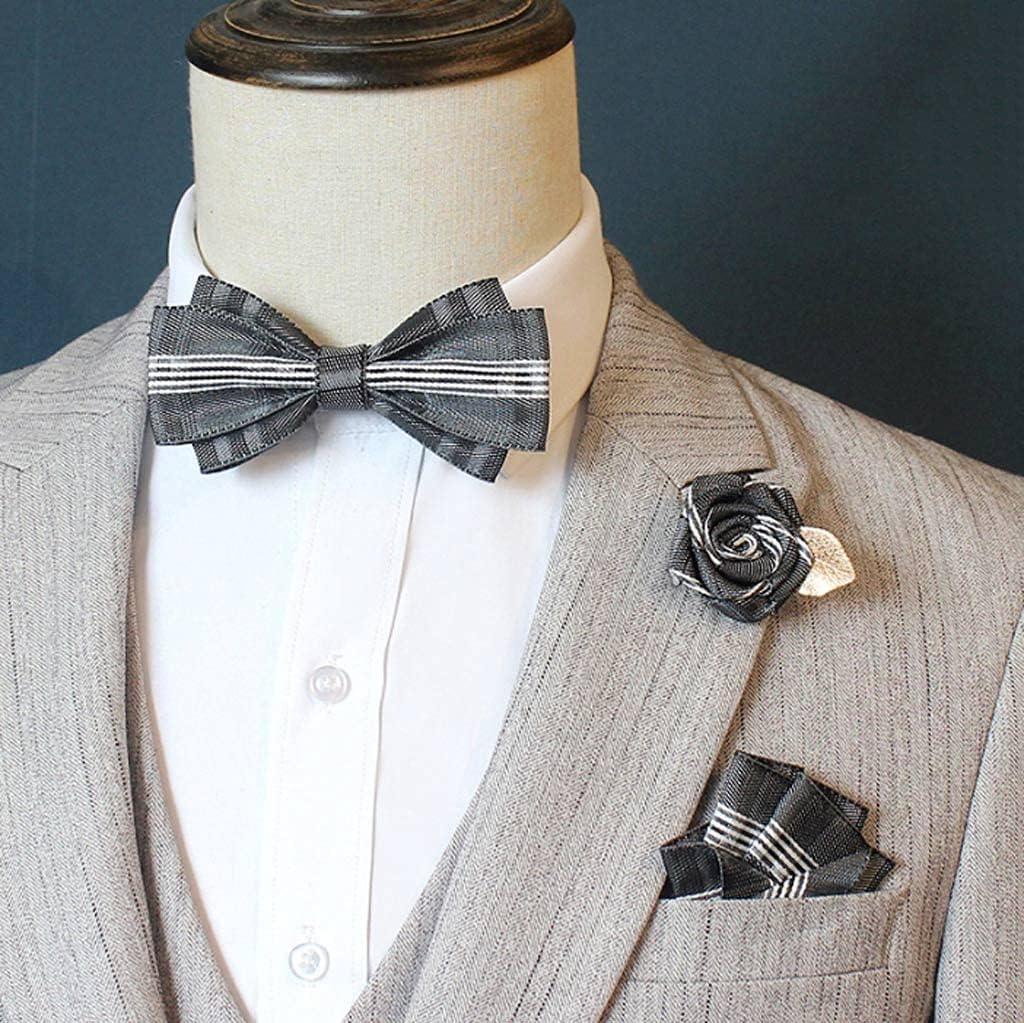 NJBYX Men's Bow Tie Suit Suit Pocket Square Rose Flower Brooch Wedding Groom Groomsmen Bow Tie Korean Collar Flower (Color : E)
