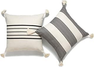 Hofdeco Moroccan Tassel Neutral Decorative Cushion Covers ONLY, Beige Grey Stripes, 45cmx45cm, Set of 2