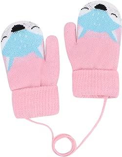 Amaone Gloves Kids With String Christmas Baby Girl Boy Winter Warm Cartoon Snowflower Unisex Child Mitten Thermal Aged 1-5