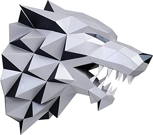 mudrit 3D Stark Dire Wolf Trophy Head DIY Low Poly Paper Craft Educational Art Kit for Adults and Teen (Silver)