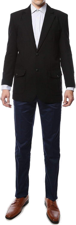 Ferrecci 40L Mens Regular Fit Hampton Black 2 Button Elbow Patch Wool Blazer