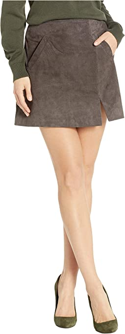 Real Suede Mini Skirt in French Grey