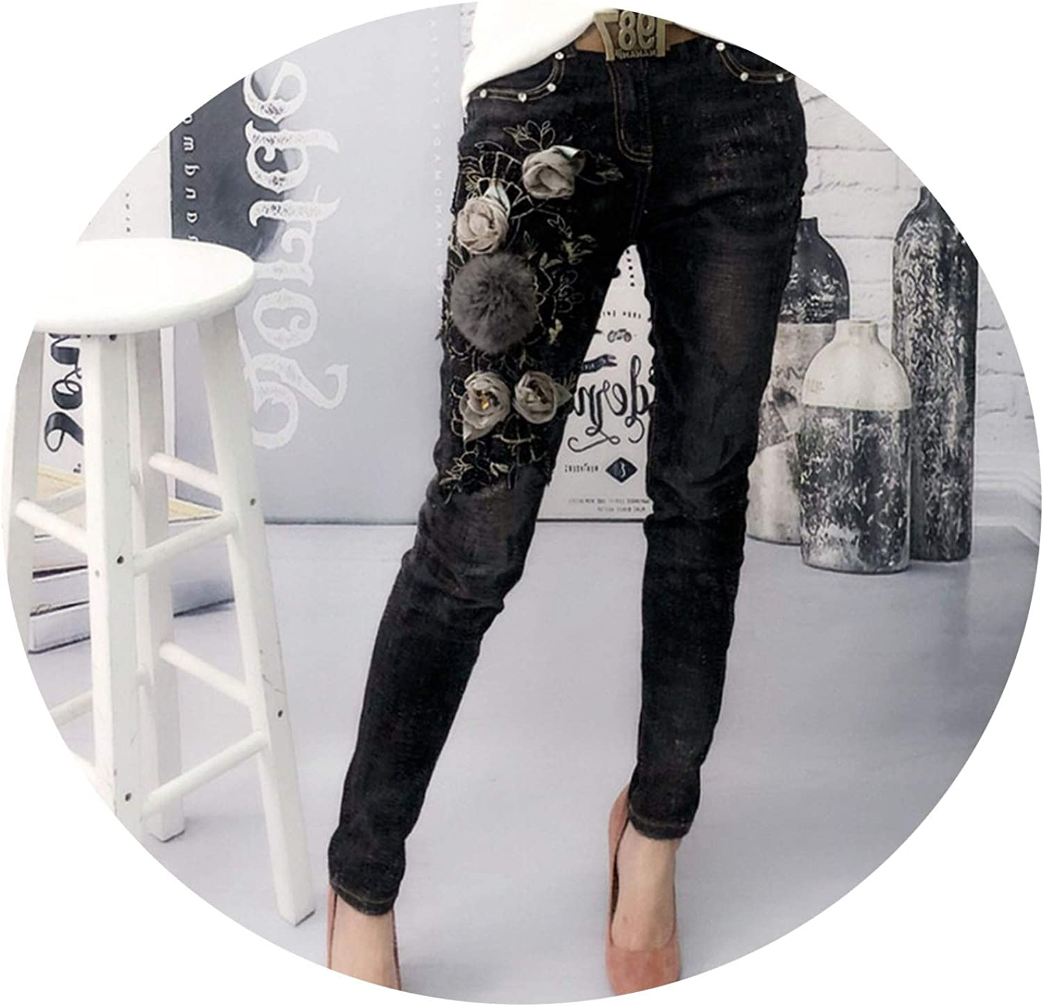 blueeshore Jeans Stretch Flower Women Vintage Denim Jeans Ladies Trousers Female Jeans Skinny Jeans Woman