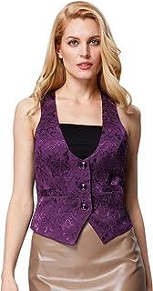GRACE KARIN Women's Suit Vest Bartender Tuxedo Waistcoat Waitress Jacket Coat