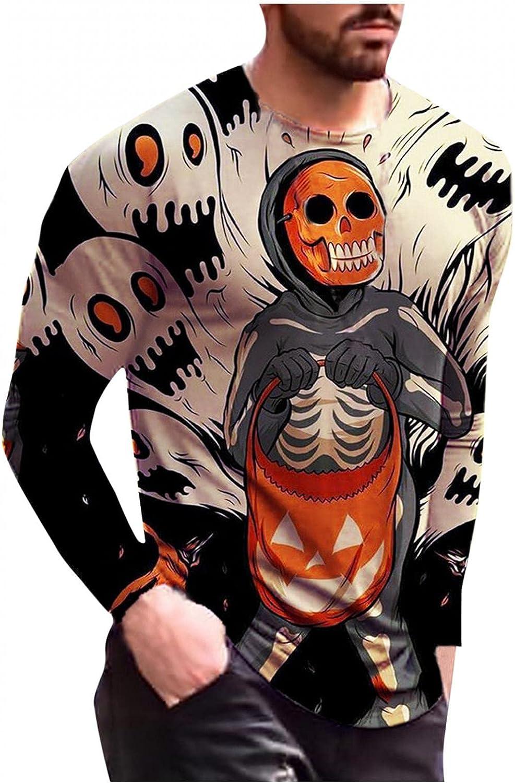 XUNFUN Plus Size Halloween Shirts for Men Slim Scary Skeleton Pumpkin Printed Crewneck Pullover Long Sleeve T-shirts Blouse