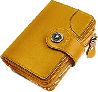 HOMPO Women's Small Wallets RFID Blocking Wallet with Zipper Coin Pocket Bifold Wallet Mini Purse with ID Window Yellow