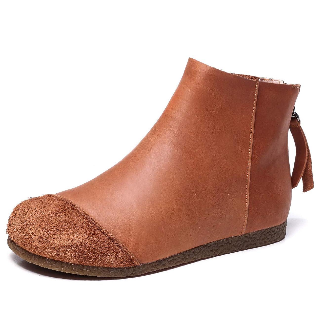 曖昧な手書き性能[Maysky] ブーツ 超軽量 切り替え バックジッパー プラットフォーム ラウンドトゥ 柔らかい 歩きやすい 仕事 通勤 お出かけ 旅行 アウトドア 本皮 ウォーキングシューズ カジュアルシューズ レディース