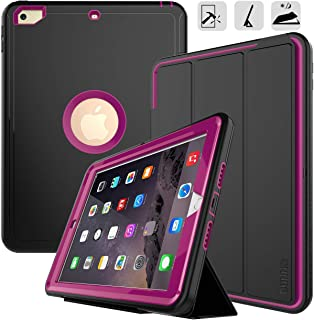 DUNNO New iPad 9.7 2017/2018 case Heavy Duty Full Body Rugged Protective Case with Auto Sleep/Wake Up Stand Folio & Three Layer Design for Apple iPad 9.7 inch 2017/2018 (Black+Rose)