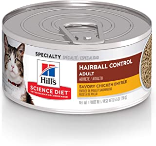 Hill's Science Diet Wet Cat Food, Adult, Hairball Control,Cans, 24-pack