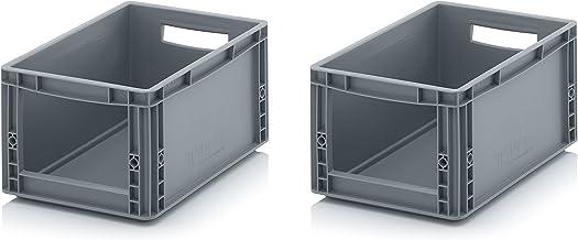 2x Euro Sichtlagerkasten 40 x 30 x 22 cm inkl. gratis Zollstock * Eurobehälter mit Fenster, 2er Set