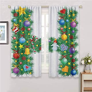 GUUVOR Letter H Room Darkened Curtain Uppercase Letter H Pine Tree Pattern with Christmas Celebration Theme Stars Image Insulated Room Bedroom Darkened Curtains W42 x L84 Inch Multicolor