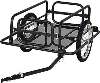 comprar comparacion PawHut Remolque de Bicicleta para Carga 50kg Carga de Equipaje Marco de Acero Ligero con Reflectores