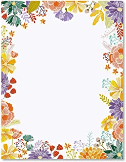Wildflower Frame Floral Spring Letter Papers - Set of 25 Floral Stationery Papers are 8 1/2