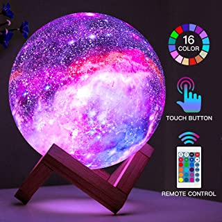 BRIGHTWORLD Moon Lamp Kids Night Light Galaxy Lamp 5.9 inch 16 Colors LED 3D Star Moon..