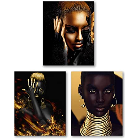 VOUORON African American Wall Art Painting Golden Earrings Necklace Black Pretty Girl Style Art Prints Set of 3 (Unframed,8x10 inches) Queen Black Woman Room Poster Bedroom for Home Decor No frame