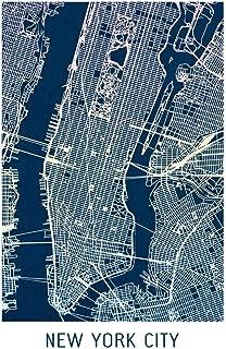 New York City Colorful Minimalist Art Map Art Cool Wall Decor Art Print Poster 24x36